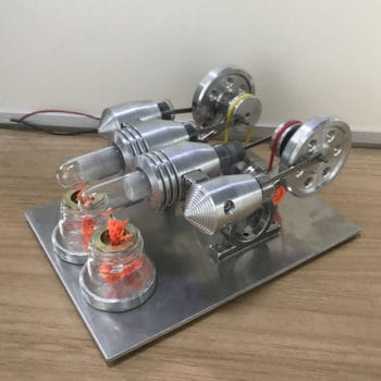 4 Cylinder Hot Air Stirling Engine Model Toy Micro V4 Engine Generator Motor Toy